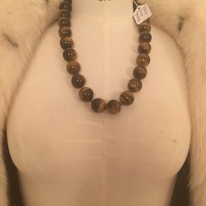 italy Jewelry - Custom made real authentic tigers eye necklace